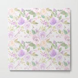 Blush lavender green watercolor hand painted floral Metal Print