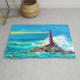 Lighthouse Abstract Painting Rug