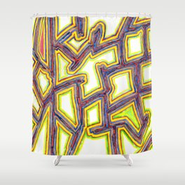 Outlined Fancy White Shapes Pattern Shower Curtain