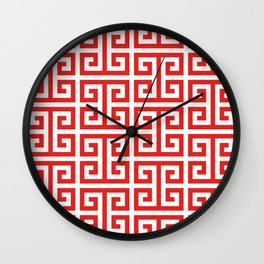 Coral Red and White Greek Key Pattern Wall Clock