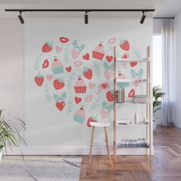 Valentines Day Heart #5 - Cupcakes and Strawberries Wall Mural