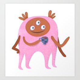 Neon pink Retro monster enjoying a cup of tea Art Print