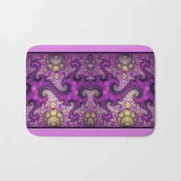 Dragon spirals and orbs in pink, purple and yellow Bath Mat