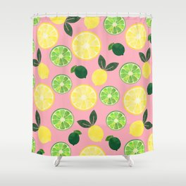 Lemon Lime in Pink Shower Curtain