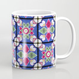 Spanish Tiles Blue Rose White Coffee Mug
