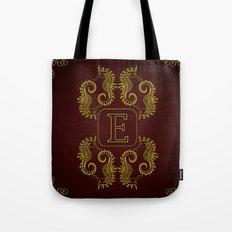 Letter E Seahorse Tote Bag