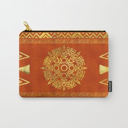 Gold Aztec Calendar Sun symbol Carry-All Pouch