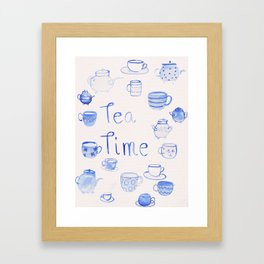 Tea time - Quote - water colour - Blue Framed Art Print