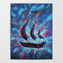 Original art for Sale Travel in space on an old sailing ship. Pirates, Peter. A ship Pan art Poster