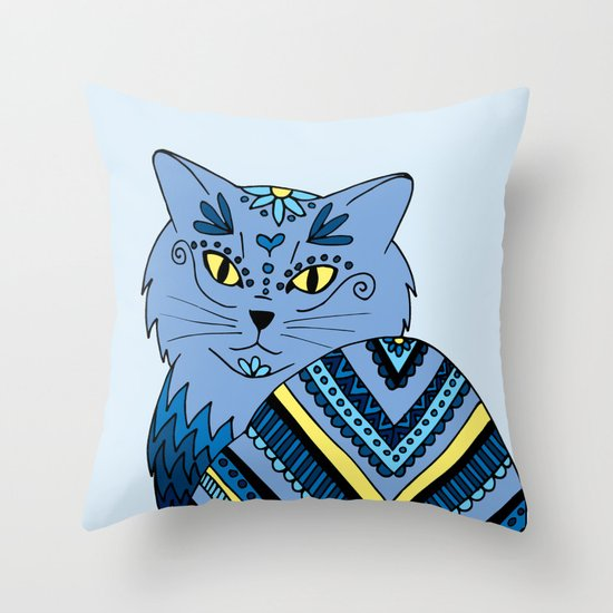 zentangle blue kitty cat drawing throw pillow