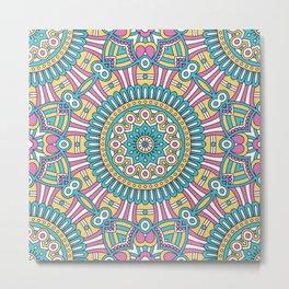 Pink Turquoise Pattern Metal Print