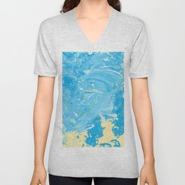 Beach Light Blue Acrylic Unisex V-Neck