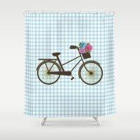 bike Shower Curtains featuring Bike by Juliana Zimmermann