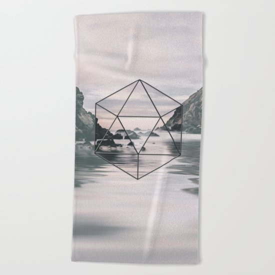 Surreal Geometric Calm Water Landscape View Hexagon Beach Towel