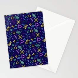 Retro 80s Shapes Pattern Stationery Cards