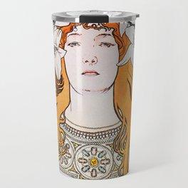 Alphonse Mucha Sarah Bernhardt Vintage Art Nouveau Travel Mug