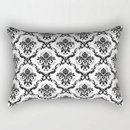Black & White Vintage Floral Damasks Pattern Rectangular Pillow
