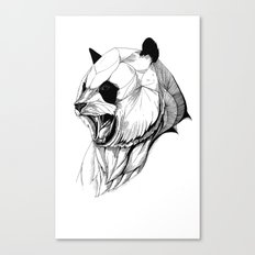 Angry panda (black stroke version for t-shirts) Canvas Print
