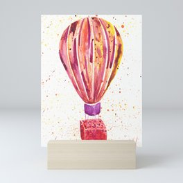 Hot Balloon Air watercolor painting Mini Art Print