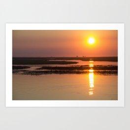 Sunset over the Okavango Delta Art Print