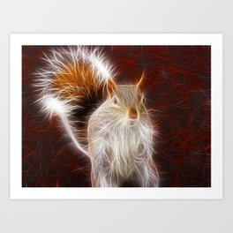 Fractalius Grey Squirrel Art Print