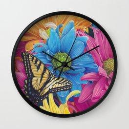 Nana's Garden Daisy swallowtail butterfly Art Print Wall Clock
