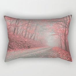 Misty Forest Road - Tickle Me Pink Rectangular Pillow