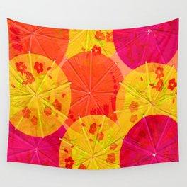 Red Hot Umbrellas Wall Tapestry