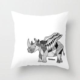 Illustrated Rhino – Union – Black Throw Pillow