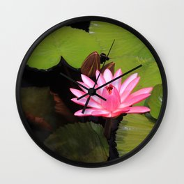 pink lily pad flower Wall Clock