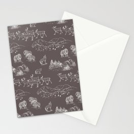 Arctic Wildlife Pattern (Taupe and White) Stationery Cards