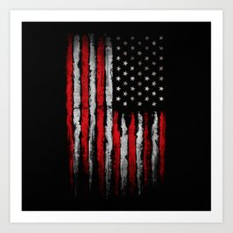 Red & white Grunge American flag Art Print