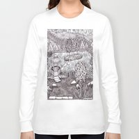 vermont Long Sleeve T-shirts featuring Zentangle Vermont Mountain Pond by Vermont Greetings