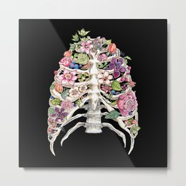 """Blooming on the Inside"" - Flowers in Ribcage Metal Print"
