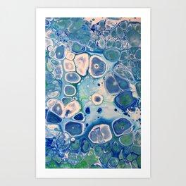 Blue Green Cells Fluid Pour Art Marble Swirls Stone Art Print