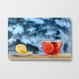 Hot fruit tea with lemon rings on a winter day. Metal Print