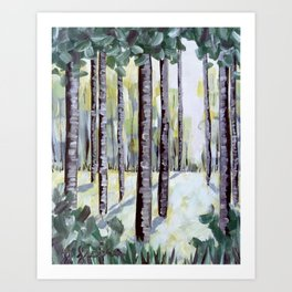 Hand Painted Acrylic Forest Tree Painting Art Print