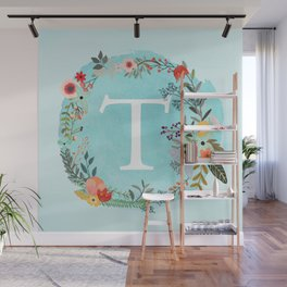 Personalized Monogram Initial Letter T Blue Watercolor Flower Wreath Artwork Wall Mural