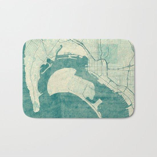 San Diego Map Blue Vintage Bath Mat