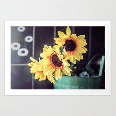Sunflowers in my kitchen Art Print