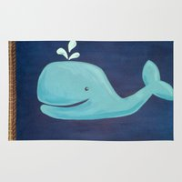 nursery Area & Throw Rugs featuring Nursery Whale by Melanie Russo