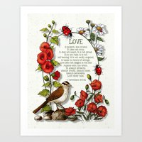 bible verses Art Prints featuring Bible Verses About LOVE, With Bird, Ladybugs, and Floral Art by joyart