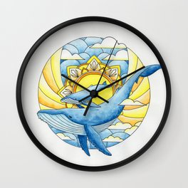 Sunset Whales Wall Clock