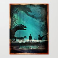 jurassic park Canvas Prints featuring Jurassic Park by Fan Prints