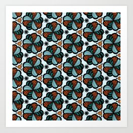 Cookies and Candy Turquoise & Orange Art Print