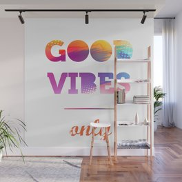 Good Vibes Only, watercolor, sticker, white circle Wall Mural