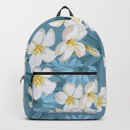 Blue Hawaii - White Plumeria on Blue Backpack