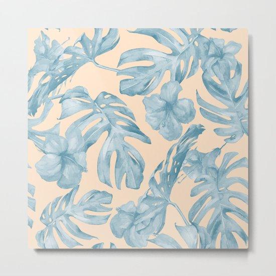 Tropical Leaves Sky Blue on Mango Coral Metal Print