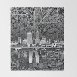 indianapolis city skyline black and white Throw Blanket