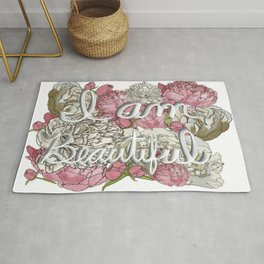 I am Beautiful- Peonies and Roses Background Rug